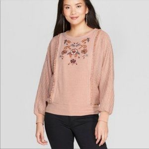 NWT Knox Rose Pearl Knit Sweater Pale Pink Large